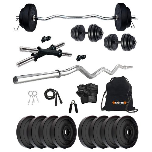 Kore PVC 16-30 Kg Home Gym Set with One 3 Ft Curl