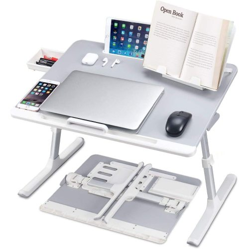 Lyrovo PVC Leather Foldable Adjustable Laptop Table Desk Stand with Storage Drawer and Bookstand for Eating Working Writing Gaming Drawing